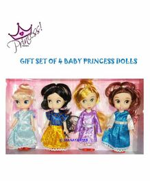 Shanaya Princess Doll Set with Glittering Dress Pack of 4 - Multicolor