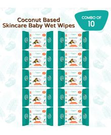 Buddsbuddy Coconut Based Wet Wipes Pack of 10 - 10 Pieces Each