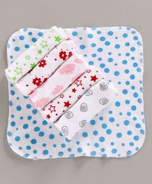 Babyhug Printed Wash Towels Pack of 6 - White Blue Red