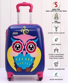 Babyhug Kid's Trolley Bag Owl Print - Blue