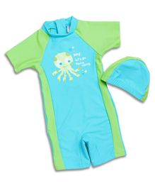 Pre Order - Awabox Octopus Print Half Sleeves Swimsuit With Cap - Light Green