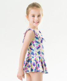 Pre Order - Awabox Dragonfly Print Sleeveless Swimsuit - Multicolor