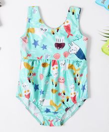 Pre Order - Awabox Underwater Print Sleeveless Swimsuit - Blue