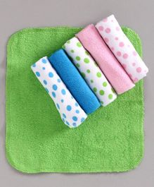 Babyhug Wash Cloths Dot Print Pack of 6 - Multicolor