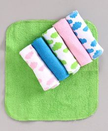 Babyhug Wash Cloths Cloud Print Pack of 6 - Multicolor