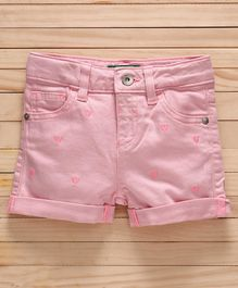 UCB Adjustable Elastic Waist Denim Shorts Heart Embroidery - Pink