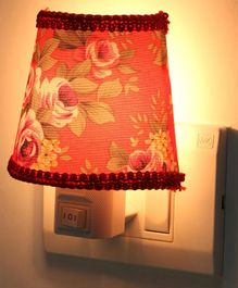 Baby Night Lamp with Lace Floral Print - Red