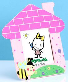 House Shaped Wooden Photo Frame Bees Design - Pink