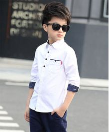 Pre Order - Awabox Full Sleeves Solid Shirt - White