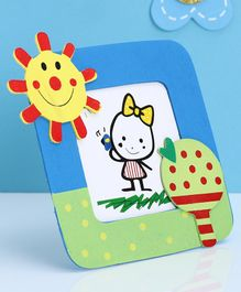Wooden Photo Frame Sun Design - Blue Green