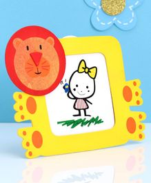 Square Shape Wooden Photo Frame Tiger Face  Design - Red Yellow