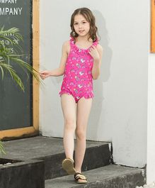 Pre Order - Awabox Stars & Heart Print Sleeveless Swimsuit - Pink