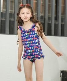 Awabox Heart Print Sleeveless Swimsuit - Blue