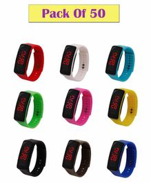 Syga New Sports Digital LED Band Watch Combo Set Pack Of 50 - Multicolor