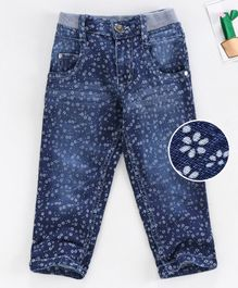 Chicklets Flower Print Full Length Jeans - Navy Blue