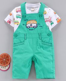 ToffyHouse Dungaree style Romper with Short Sleeves Tee Vehicle Embroidery - White Sea Green