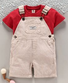 Toffyhouse Striped Dungaree with Half Sleeves Inner Tee - Red Beige