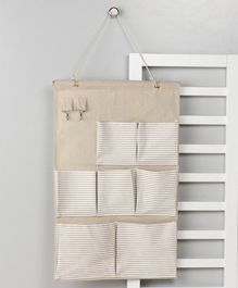 Wall Hanging Organiser with 7 Pockets - Cream