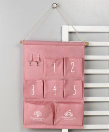 Wall Hanging Organiser with 7 Pockets - Pink