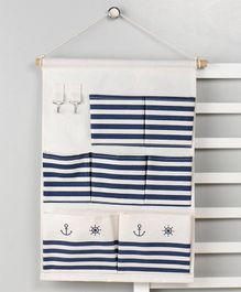 Wall Hanging Organiser with 7 Pockets - Cream Blue