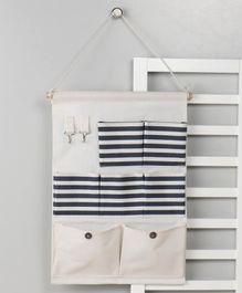 Wall Hanging Organiser with 7 Pockets - Cream Grey