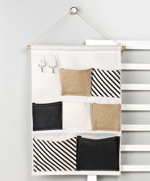 Wall Hanging Organiser with 8 Pockets - Cream Black
