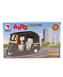 Shinsei Pull Back Auto Rickshaw Toy - Black & Yellow