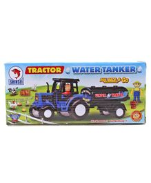 Shinsei Pull Back Tractor With Water Truck - Black & Blue