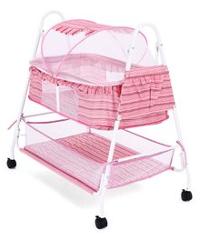Baby Cradle Cum Bassinet with Mosquito - Pink