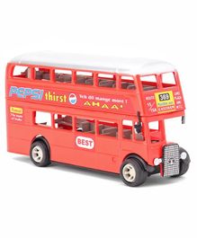 Shinsei Pull Back Action Double Decker Bus Toy - Red