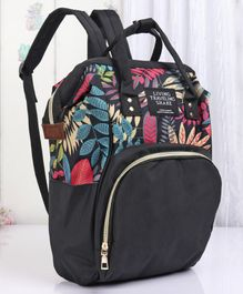 Backpack Style Diaper Bag Leaves Print - Black