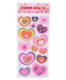 Room Decor Shiny Stickers Heart Shaped Multicolor - 16 Pieces