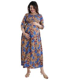 Mamma's Maternity Three Fourth Sleeves Flower Printed Dress - Brown & Blue