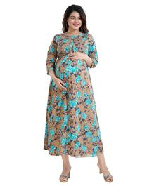 Mamma's Maternity Three Fourth Sleeves Flower Printed Dress - Brown & Sky Blue