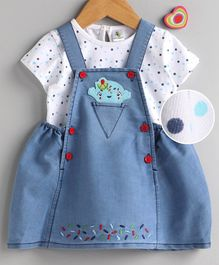 Cucumber Frock with Half Sleeves Inner Tee Polka Dot Print - Blue White