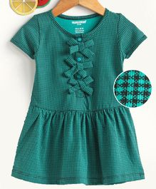 Cucumber Short Sleeves Printed Frock Bow Appliques - Green