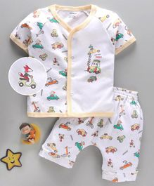 Cucumber Half Sleeves Night Suit Car Print - White Yellow