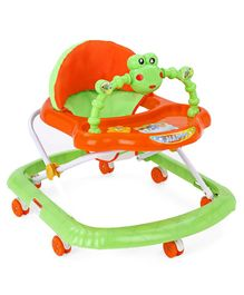 Musical Baby Walker with Overhead Toy Bar - Green Orange