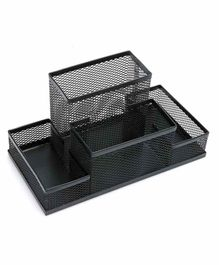 Syga Four Compartments Pen Stand - Black