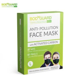 BodyGuard Large N95 + PM2.5 Anti Pollution Face Mask with Activated Carbon - Black