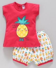 Nottie Planet Short Sleeves Pineapple Print Tee With Shorts Set - Red