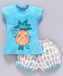 Nottie Planet Short Sleeves Pineapple Print Tee With Shorts Set - Blue