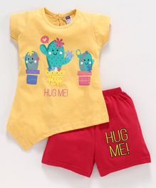 Nottie Planet Short Sleeves Cactus Print Tee With Shorts Set - Yellow