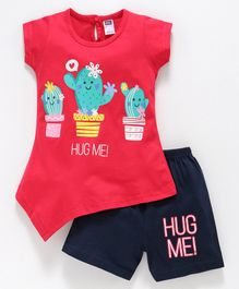 Nottie Planet Short Sleeves Cactus Print Tee With Shorts Set - Red