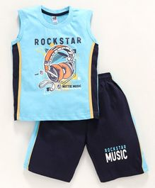 Nottie Planet Rock Star Print Sleeveless Tee With Shorts - Blue