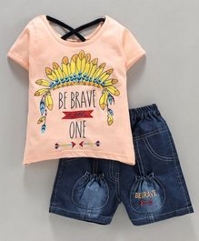 Nottie Planet Half Sleeves Be Brave One Print Tee With Shorts - Peach Blue