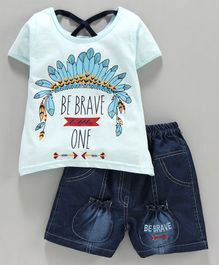 Nottie Planet Half Sleeves Be Brave One Print Tee With Shorts - Blue