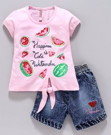 Nottie Planet Short Sleeves Watermelon Print Top With Shorts - Pink Blue