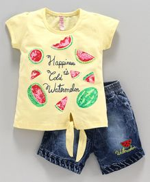 Nottie Planet Short Sleeves Watermelon Print Top With Shorts - Yellow Blue