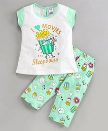 Nottie Planet Cap Sleeves I Love Movies & Sleepovers Print Night Suit - Green